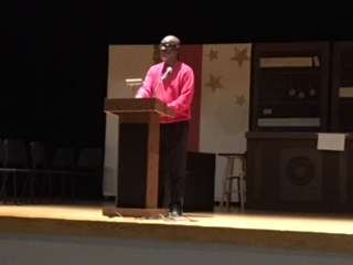 Sam Wansley speaks to students at MMS about Black History